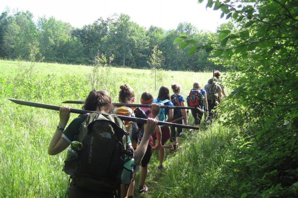 Trail Corps Participants gearing up for Rock Work.